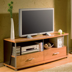 "South Shore - City Life 60"" TV Stand - The City Life collection by South Shore combines design and functionality. Your media room has never been so organized. The curved shapes, the metal accents, and the contrast of the finishes are the signature of this unique design. Features: -City Life collection. -Honeydew finish. -Stands on silver plastic finish legs. -Decorative metal tubing adds style. -2 Drawers and 2 open spaces for storage. -4 Holes in back for wiring. Protecting our Environment for Generations to Come! South Shore Furniture is proudly taking a stand on its environmental positioning and is supporting its words with very concrete actions and a vision for a healthy future. Current actions include: -Improved packaging  Our new packaging use 60% less non-biodegradable materials. -Energy efficiency  Yearly, 5 to 6 tons of wasted paneling are converted into energy used internally. -Environmentally Preferable Product (EPP) certification Already meeting the very strict 2009 California Formaldehyde Regulations. -Greener communication tools  Reduced format on recycled paper and conversion to electronic format. -A Green Future in mind: a member of the Composite Panel Association whose mission is to work towards more ecological and environment-friendly panel solutions."