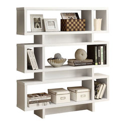 """Monarch Specialties - Monarch Specialties Contemporary 55 Inch Hollow-Core Bookcase in White - Add some pizzazz to your living space with this 55"""" high hollow-core bookcase! This modern, rich white finish bookcase has ample room for displaying pictures, decorative pieces and even books. Its sturdy structure and innovative features will definitely add visual appeal to any decor. What's included: Bookcase (1)."""
