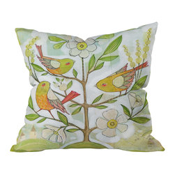 DENY Designs - Cori Dantini Community Tree Throw Pillow - Chirping birds. Blossoming branches. Bring springtime cheer to any room — no matter what the season — with this softly colorful pillow.