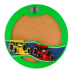 Lite Source - Lite Source 18ID20 Children / Kids Wall Art Lite Source Kids Collection - High functionality surrounds this race inspired corkboard. A Green background accents red and yellow cars. Double-checkered flags add the finishing touch