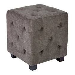 Handy Living Duncan Parisian Small Tufted Cube - Smoky Gray - Complete your living room with the ultra-comfy Duncan Parisian Small Tufted Cube - Smoky Gray. Crafted of plush chenille fabric in smoky gray (100% polyester for hassle-free maintenance) and stuffed with cushiony foam and fiber, this cube ottoman offers a soft spot to rest your feet and can also be used as additional seating. Accented by dark walnut wooden legs and classic button tufting, the Duncan Cube combines traditional style with sleek, modern lines. This piece is eco-friendly and can be broken down for recycling at the end of use. About Handy LivingHandy Living applauds innovation and has designed furniture that is modular and can fit in standard-sized shipping boxes, making it convenient and easy for customers to incorporate beautiful pieces into their homes. This furniture is high quality, easy to assemble, stays safe in shipping, and is affordable. From designer fashions in fabric and style, to multi-layered cushions for comfort, Handy Living's furniture offers quality construction at a reasonable price.
