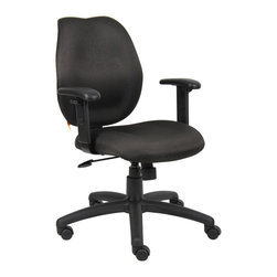 "Boss Chairs - Boss Chairs Boss Black Task Chair w/ Adjustabl Arms - Mid-back styling with firm lumbar support. Elegant styling upholstered with commercial grade fabric. Sculptured seat cushion made from molded foam that contours to the shape of your body. Ratchet back height adjustment mechanism which allows perfect positioning of the back cushion and lumbar support. Optional adjustable height armrests. Large 27"" nylon base for greater stability. Pneumatic gas lift provides instant height adjustment of the seat. Adjustable tilt tension that accommodates all different size users. Hooded double wheel casters. Upright locking position."