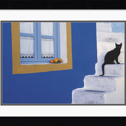 Amanti Art - Step by Step Framed Print by John Charbonneau - A black cat against white steps, in Step by Step by photographer John Charbonneau we have a colorful composition that is sure to enliven your wall.