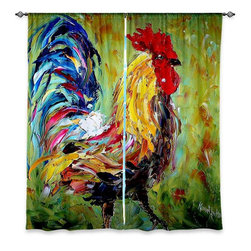 "DiaNoche Designs - Window Curtains Lined by Karen Tarlton Rooster II - Purchasing window curtains just got easier and better! Create a designer look to any of your living spaces with our decorative and unique ""Lined Window Curtains."" Perfect for the living room, dining room or bedroom, these artistic curtains are an easy and inexpensive way to add color and style when decorating your home.  This is a woven poly material that filters outside light and creates a privacy barrier.  Each package includes two easy-to-hang, 3 inch diameter pole-pocket curtain panels.  The width listed is the total measurement of the two panels.  Curtain rod sold separately. Easy care, machine wash cold, tumble dry low, iron low if needed.  Printed in the USA."