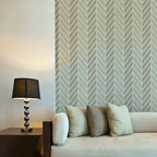 Large Get Ziggy With It Wall Stencil - Hip and happening! This uber cool herringbone pattern stencil from Royal Design Studio comes in 2 sizes for stenciling on both walls and furniture. Stencil it in a single color, or use two shades of a similar paint color to create a subtle and stunning dimensional look.