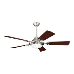 "DECORATIVE FANS - DECORATIVE FANS Bellamy 54"" Contemporary Ceiling Fan X-PA910003 - Clean lines and contemporary styling are complimented by modern finishes on this Kichler Lighting ceiling fan. From the Bellamy Collection, it features an Antique Pewter finish with reversible cherry fan blades. A clean and stylish satin etched cased opal glass shade completes the look."