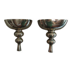 Consigned - Large, Dramatic Brass Wall-Mount Candle Sconces, A Pair - Gorgeous, sensual lines and dramatic scale--a perfect pop of glam in any room of your home!