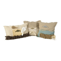IMAX - Teft Burlap Pillow - Set of 3 - Layering fabrics and textures, this set of three vintage inspired pillows has a classic Parisian feel great for adding dimensions to any seating area. Dimensions: 20L x 13W inches