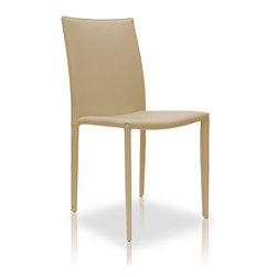 Modloft - Varick Dining Chair, Beige Leather - With its sleek minimalist look, the Varick dining chair will make the perfect addition to your dining room. A noticeably thick leather encompasses the backrest, seating area and legs. At a measurement of 19W in. x 20D in. x 36H in., this dining chair is the definition of both style and comfort. Seat height 18.5 in. Available in chocolate, white, beige, or red reconstituted leather. Price for each, sold by pair only. Imported.