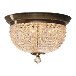 Crystorama - 2-Lights Hand Cut Clear Crystal Beads Flush Mount - Hand cut clear crystal beads and antique brass wrought iron flush mount.