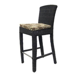 Padmas Plantation - Outdoor Bay Harbor Bar Stool - Set the scene for entertaining with Bay Harbor bar stools.  Armless design is casual for any outdoor setting.  Aluminum frame is encased in a classic wicker design that's synthetic for easy maintenance and long-lasting wear.  Rich and earthy two-tone finish. Includes cushion and pillow. Powder coated aluminum frame. Colorfast and weatherfast synthetic wicker construction. Cushions are made from urecel foam that will not absorb water and will resist mold and mildew. Bark finish. Made in Indonesia. 20 in. W x 18.25 in. D x 42.5 in. HOur outdoor pieces are a great fit for those who love to simply enjoy the outdoors without having to spend a lot of time with maintenance.