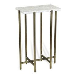 Interlude - Zahara Rectangular DrinkTable - The Zahara Rectangular Drink Table combines bright marble with a warm brass finish base.