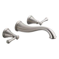 "Delta - Delta 3597LF-SSWL Cassidy Two-Handle Wall-Mounted Bath Faucet (Stainless Steel) - Delta 3597LF-SSWL Cassidy two handle Wall-Mounted Lavatory Faucet (Stainless Steel). The Delta 3597LF-SSWL is part of the Cassidy Series. This widespread wall-mounted lavatory faucet features two lever handles for precise manipulation of your water volume and temperature, an 8"" centered 3-hole installation, and a solid brass fabricated body for a long-lasting durability. It comes with a 9-9/16"" long spout, 1/4-turn handle stops, and 1/2""-14 NPT female threaded inlets. This model comes in a classic, Stainless Steel finish."
