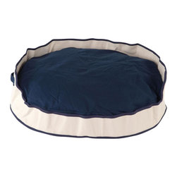 "Carolina Pet Company - Heavy Canvas Tote Cuddler, Navy, 28"" X 20"" X 8"" - Heavy duty 22oz. Tote bag cotton canvas basket bed in great d_cor colors.  This bed will last a lifetime.  Perfect for sun rooms, boat decks, porches or patios. Coordinating 8oz. Canvas removable inner cushion for added comfort.  100% recycled high loft polyester fill keeps pets happy and healthy by relieving pressure on joints and hips. Machine washable."