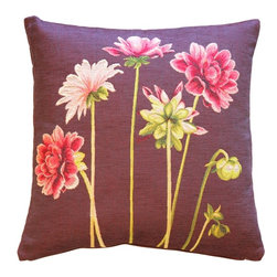 Pillow Decor Ltd. - Pink Dahlias Square Tapestry Throw Pillow - Dahlias, darling, dahlias! A delightfully unfussy pink floral in French tapestry makes a striking statement in your favorite setting.