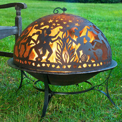 Fire Pit with Full Moon Party Dome - Judging from the dancers on this wrought iron fire pit dome, it's clearly a full moon they're celebrating! See what happens when you light this wrought iron and steel Fire Dome at home! Complete set includes the sturdy stand, deep basin, story-telling dome and lifting rod. It's a scene stealer!