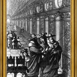 """Abraham Bosse-16""""x24"""" Framed Canvas - 16"""" x 24"""" Abraham Bosse Roger Showing a Gallery of Paintings to Several Cardinals framed premium canvas print reproduced to meet museum quality standards. Our museum quality canvas prints are produced using high-precision print technology for a more accurate reproduction printed on high quality canvas with fade-resistant, archival inks. Our progressive business model allows us to offer works of art to you at the best wholesale pricing, significantly less than art gallery prices, affordable to all. This artwork is hand stretched onto wooden stretcher bars, then mounted into our 3"""" wide gold finish frame with black panel by one of our expert framers. Our framed canvas print comes with hardware, ready to hang on your wall.  We present a comprehensive collection of exceptional canvas art reproductions by Abraham Bosse."""