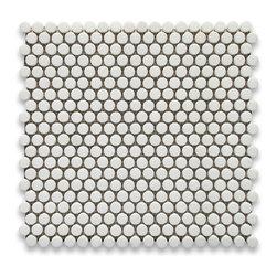"Stone Center Corp - Thassos White Marble Penny Round Mosaic Tile 5/8 inch Polished - Thassos white marble 5/8"" diameter round pieces mounted on 12"" x 12"" sturdy mesh tile sheet"
