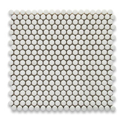 "Stone Center Corp - Thassos White Marble Penny Round Mosaic Tile 5/8 inch Polished - Thassos white marble 5/8"" diameter round pieces mounted on 12"" x 12"" sturdy mesh tile sheet"