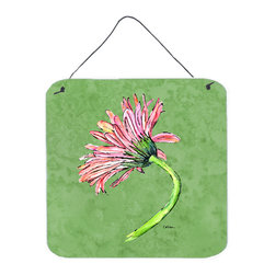 Caroline's Treasures - Gerber Daisy Pink Aluminium Metal Wall Or Door Hanging Prints - Great for inside or outside these Aluminum prints will add a special touch to your kitchen, bath, front door, outdoor patio or any special place.  6 inches by 6 inches and full of color.  This item will take direct sun for a while before it starts to fade.  Rust and Fade resistant.  Aluminum Print with Hanging Rope.  Rounded Corners.