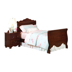 Standard Furniture - Standard Furniture Jaqueline Sleigh Bed in Cherry - Twin - Inspired by fairytales every princess dreams of, Jaqueline features a traditional look with a traditional design and attention to detail. Beautifully coordinated knob and bail pull hardware make opening and closing drawers an easy task. Wood products with simulated wood grain laminates. Group may contain some plastic parts. French dovetail. Roller side drawer guides. Pull and knob in simulated Spanish reg. finish. Zinfindale cherry color finish. Surfaces clean easily with a soft cloth.