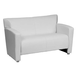 Flash Furniture - Hercules Majesty Series White Leather Love Seat - Having the right office waiting room furniture is essential for companies wanting to send the proper message to both clients and employees. Not only will this chair fit in a professional environment, but will add a chic look to your living room space. This leather love seat will get the message sent properly with its uncomplicated yet attractive design to fit in a multitude of environments.