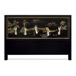 China Furniture and Arts - Hand-Painted Scenery with Chinese Maiden Design Queen Size Headboard - This beautiful Queen size headboard depicts a Chinese courtyard scene and is accented with soapstone Chinese maiden figures on a black matte finish. This piece is sure to create a spacious illusion in any contemporary bedroom.