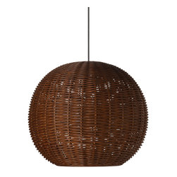KOUBOO - Wicker Ball Pendant Light, Rustic Brown - Diameter 18 inches x 15 inches high. Total height with power cord 53 inches. Height can be reduced by shortening cord.