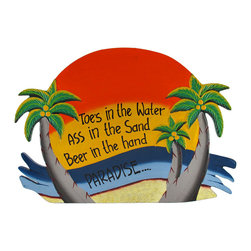 "Zeckos - Orange ""Toes in the Water"" Palm Tree Paradise Wall Plaque - This tropical paradise wall plaque is a wonderful addition to any beach themed room or bar Made of wood, it is hand painted and measures 15 3/4 inches long, 11 inches tall, 1/4 inch thick. It easily hangs from a single nail or screw by the twisted rope hanger on the back, and is sure to be admired by beach lovers."