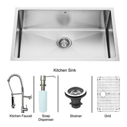 """Vigo - All in One 30"""" Undermount Stainless Steel Kitchen Sink and Faucet Set - Enhance the look of your kitchen with a VIGO All in One Kitchen Set featuring a 30"""" Undermount kitchen sink, faucet, soap dispenser, matching bottom grid and sink strainer.; This single bowl sink is manufactured with 16 gauge premium 304 Series stainless steel construction with commercial grade premium scratch resistant satin finish; Fully undercoated and padded with a unique multi layer sound eliminating technology, which also prevents condensation.; All VIGO kitchen sinks are warranted against rust; Distinctive 25 mm radius curved corners with rear standard 3 1/2"""" drain placement; Exterior dimensions: 30"""" W x 19"""" D; Interior dimensions: 28"""" W x 17"""" D; Depth: 9 7/8""""; Required interior cabinet space: 32""""; Kitchen sink is cUPC and NSF-61 certified by IAPMO; All mounting hardware and cutout template provided for 1/8"""" reveal or flush installation; Sink model: VGR3019C; Faucet features a spiral pull-down spray head for powerful spray and separate spout for aerated flow, and is made of solid brass with a chrome finish.; Includes a spray face that resists mineral buildup and is easy-to-clean; High-quality ceramic disc cartridge; Retractable 360-degree swivel spout expandable up to 20""""; Single lever water and temperature control; All mounting hardware and hot/cold waterlines are included; Water pressure tested for industry standard, 2.2 GPM Flow Rate; Standard US plumbing 3/8"""" connections; Faucet height: 27 1/4""""; Faucet spout reach: 10 1/8""""; Faucet sprayer reach: 8 1/8""""; Kitchen faucet is cUPC, NSF-61, and AB1953 certified by IAPMO.; Faucet is ADA Compliant; 2-hole installation with soap dispenser; Faucet model: VG02007CH; Soap dispenser is solid brass with an elegant chrome finish and fits 1 1/2"""" opening with a 3 1/2"""" spout projection.; Matching bottom grid is chrome-plated stainless steel with vinyl feet and protective bumpers.; Sink strainer is made of durable solid brass in chrome finish; Al"""