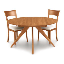 """Copeland Furniture - Copeland Furniture Catalina 54"""" Round Extension Dining Tables 6-CRE-54-03 - Extension tables incorporate self equalizing, ball bearing extension glides and a single 24' self storing butterfly leaf for single handed operation. The Catalina dining room is crafted in solid American black walnut or solid cherry hardwood."""