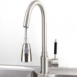 JollyHome - JollyHome Stylish Pull out Brushed Nickel Kitchen Faucet - Complete parts and all install fittings are included.Water pressure tested for industry standard.Easy to keep clean and maintain.Ceramic valve core