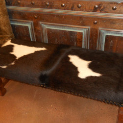 "Benches - Bench shown is 48"" long and has Honey stain with a black and white hide."