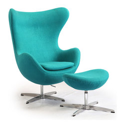 "Kardiel Egg Chair & Ottoman, Turquoise Boucle Cashmere Wool - This premium Egg chair reproduction and the matching ottoman are a sculptural masterpiece.The original design was created by Arne Jacobsen in 1958, and versions of it sell today for upwards of $5,000. You can have this beautiful reproduction in your home at a fraction and the best part is no one will know the difference. Its creation is taken from respect of the dimensions, the angles, the pitch and curve wrap of the original mid century classic design. Arne Jacobsen's attention to these details is what made the original Egg Chair an iconic classic. Kardiel's Mid Century Classic Egg Chair Style Premium Reproduction Features: High density CA 117 foam. Boucl_ Fabric in a Premium Cashmere Wool Blend; 35% Cashmere _ 65% Poly/Dacron. The entire chair and ottoman is Hand Sewn/Stitched. High quality aluminum base in chip and flake resistant Satin Finish. Chair features both Tilt and 360 degree swivel function. Chair Dimensions: height 42.9"" at the highest point x depth 31.5"" x width 34.6"" at"