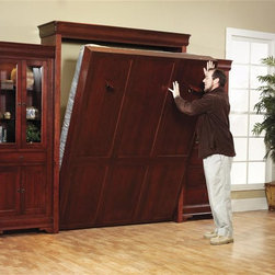 Amish Murphy Bed Set - This murphy bed is available in a twin, full or queen size.  When the bed isn't in use it easily closes up inside of the beautiful hardwood cabinet.  The two hardwood bookcases complete the look of this Amish made murphy bed set.