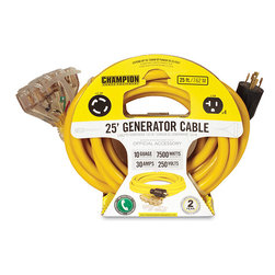 None - Champion 25-Foot Generator Power Cord with Weather Guard - Make sure your home power generator is ready for anything with this handy generator plug. This cord stretches to a length of 25 feet and features a weather guard to ensure maximum usefulness.