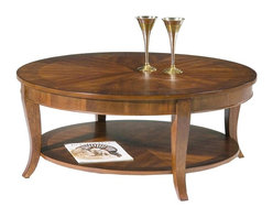 Liberty Furniture - Bradshaw Round Cocktail Table - Ornate veneering design. Flared legs. 8-way matched veneer and walnut edge. Veneered bottom shelf. Warranty: One year. Made from select hardwoods, cherry and walnut veneers. Multi-step hand applied rich cherry finish. 38 in. Dia. x 19 in. H (55 lbs.)