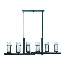 Maxim - Maxim Fusion Six Light Clear Glass Anthracite Up Chandelier - This Six Light Up Chandelier is part of the Fusion Collection and has Clear Glass and an Anthracite Finish.