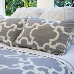 Geometric Print Two-Toned Duvet Cover, The Noe Gray - This warm gray and white Moroccan-inspired quatrefoil printed duvet emits sophistication and symmetry. In our Signature style, the two-toned cover gives you the perfectly made bed instantly.
