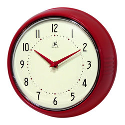 Infinity Instruments, Ltd. - Infinity Instruments Retro Iron Wall Clock, Red - Infinity Instruments Retro Wall Clock collection has been a staple in the interior design/wall décor accessories for well over a decade.  It has proven the test of time with a clean retro look that fits most, if not all, home décor layouts. There have been many copy cats but there is only one true  Retro Iron Wall Clock.