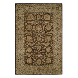 Ballard Designs - Rialto Rug - Cotton canvas backed for added durability. Sizes are approximate. Imported. Woven to be extra dense and thick underfoot, our Rialto Rug is designed in the style of antique Persian Tabriz with an intricate pattern of flowering vines and geometric palmettes. Hand tufted of plush 100% wool with chocolate ground bordered in light blue. Use of our Rug Pad is recommended. Rug features:. . .