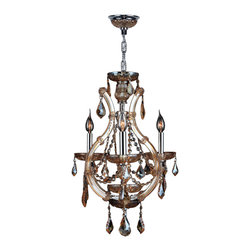 "Worldwide Lighting - Lyre 4-Light Chrome Finish and Amber Crystal Chandelier 16"" D x 26"" H Mini Small - This stunning 4-light crystal chandelier only uses the best quality material and workmanship ensuring a beautiful heirloom quality piece. Featuring a radiant chrome finish and finely cut premium grade amber colored crystals with a lead content of 30%, this elegant chandelier will give any room sparkle and glamour."