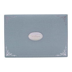 WOLF - Vintage Baby Keepsake Box, Blue - A place for new and expectant mothers to store their most precious mementos. This baby keepsake box's classic design features a blue pebbled faux leather exterior accented with silver stamped foil ornamentation, and an interior with stamped foil captioning for each compartment.