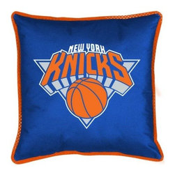 Sports Coverage - Sports Coverage NBA New York Knicks Sideline Toss Pillow - Make that new officially licensed NBA New York Knicks Sidelines Toss Pillow look as good as it feels. A must have for any true fan. A New Design - Same great quality!! Coordinating Toss pillow to match jersey material logo Comforter. Each Pillow is made from 100% polyester jersey material (just like the athlete's wear). Pillow has large team logo in the center of the pillow, as well as a strip of mesh trim around it.   Features:  - Toss Pillow is 17 x 17,   - Poly/Cotton bottom side,   - 100% Polyester Cover and Fill,   - Sidelines is trimmed in teams secondary color,   - 100% Polyester Jersey,   -  Spot Clean only ,