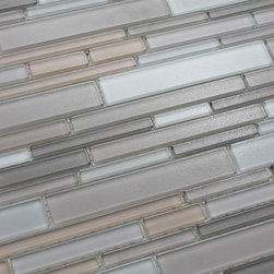Rocky Point Tile - Feel Series Moka Textured Strip Mosaic Tiles, 10 Square Feet - A lightly textured multicolored blend of brown, warm taupes and grays, and white. Tile pieces vary in length and width giving the tile a complex pattern that looks great in large spaces or smaller areas like a kitchen backsplash. The surface has a very light bumpy texture that adds extra dimension.