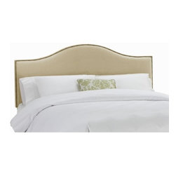 "Skyline Furniture - Nail Button Upholstered Headboard - Assure yourself the bedroom of your dreams by making the Nail Button Arc headboard the centerpiece of your bedroom decor. This marvelous headboard is hand-crafted from solid pine wood with a velvet cover and thick foam padding.The beautifully crafted headboard comes in a classic shape with fine flowing lines and button holes. Features: -Number of buttons may vary depending on size of headboard.-Headboards attach to a standard bed frame using the provided metal legs construction.-Nail Button collection.-Cleaning CodesPremier & Bokhara (WS): To prevent overall soil, frequent vacuuming or light brushing to remove dust and grime is recommended. Spot clean, with a mild solvent, an upholstery shampoo, or the foam from a mild detergent. When using a solvent or dry cleaning product, follow instructions carefully and clean only in a well ventilated room. Avoid any product which is highly toxic. With either method, pretest a small area before proceeding. Use a professional furniture cleaning service when an overall soiled condition has been reached..-Gloss Finish: No.-Frame Material: Pine wood.-Hardware Material: Steel.-Nailhead Trim: Come in either antique bronze or pewter.-Wall Mounted: Yes.-Reversible: No.-Media Outlet Hole: No.-Built In Outlets: No.-Hardware Finish: Black metal.-Finished Back: No.-Distressed: Yes.-Hidden Storage: No.-Freestanding: No.-Frame Included: No.-Drill Holes for Frame: Yes.-Commercial Use: No.-Recycled Content: No.-Country of Manufacture: United States.Specifications: -EPP Compliant: No.-CPSIA or CPSC Compliant: Yes.-CARB Compliant: Yes.-JPMA Certified: No.-ASTM Certified: No.-ISTA 3A Certified: Yes.-PEFC Certified: No.-General Conformity Certificate: Yes.-Green Guard Certified: No.Dimensions: -Overall Height - Top to Bottom (Size: California King): 51"".-Overall Height - Top to Bottom (Size: Full): 51"".-Overall Height - Top to Bottom (Size: King): 51"".-Overall Height - Top to Bottom (Size: Queen): 51"".-Overall Height - Top to Bottom (Size: Twin): 51"".-Overall Product Weight (Size: California King): 40 lbs.-Overall Product Weight (Size: Full): 31 lbs.-Overall Product Weight (Size: King): 45 lbs.-Overall Product Weight (Size: Queen): 33 lbs.-Overall Product Weight (Size: Twin): 24 lbs.-Leg Height: 6"".-Bottom of Headboard to Floor: 24"".Assembly: -Assembly Required: Yes.-Tools Needed: Allen wrench, wrench.-Additional Parts Required: No.Warranty: -Product Warranty: 1 Year limited (Excludes fabric)."