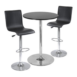 """Winsomewood - Spectrum 3-Piece Pub Table Set, 28"""" Round Table with 2 L-shape Airlift Stools - This set comes with 28"""" round pub table and 2 air lift stools. Table top is made of MDF in black color with metal base. Stools seats are faux leather in black which adjust from 22.64"""" to 31.10"""" Height. Easy assembly."""
