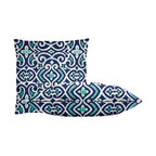 "Cushion Source - New Damask Marine Throw Pillow Set - The New Damask Marine Throw Pillow Set consists of 18"" x 18"" cotton throw pillows featuring an updated damask ikat print in royal, aqua, and white."