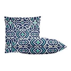 """Cushion Source - New Damask Marine Throw Pillow Set - The New Damask Marine Throw Pillow Set consists of 18"""" x 18"""" cotton throw pillows featuring an updated damask ikat print in royal, aqua, and white."""