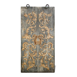 Koenig Collection - Old World Mediterranean Wall Art Panels, Sky Blue Spatula Distressed with Dandel - Old World Mediterranean Wall Art Panels